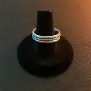 Band Twisted Design Middle 925 Silver Ring